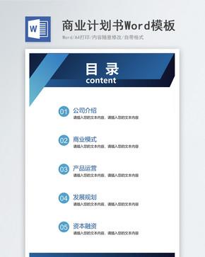 简约时尚商务风格商业计划书Word模板word文档