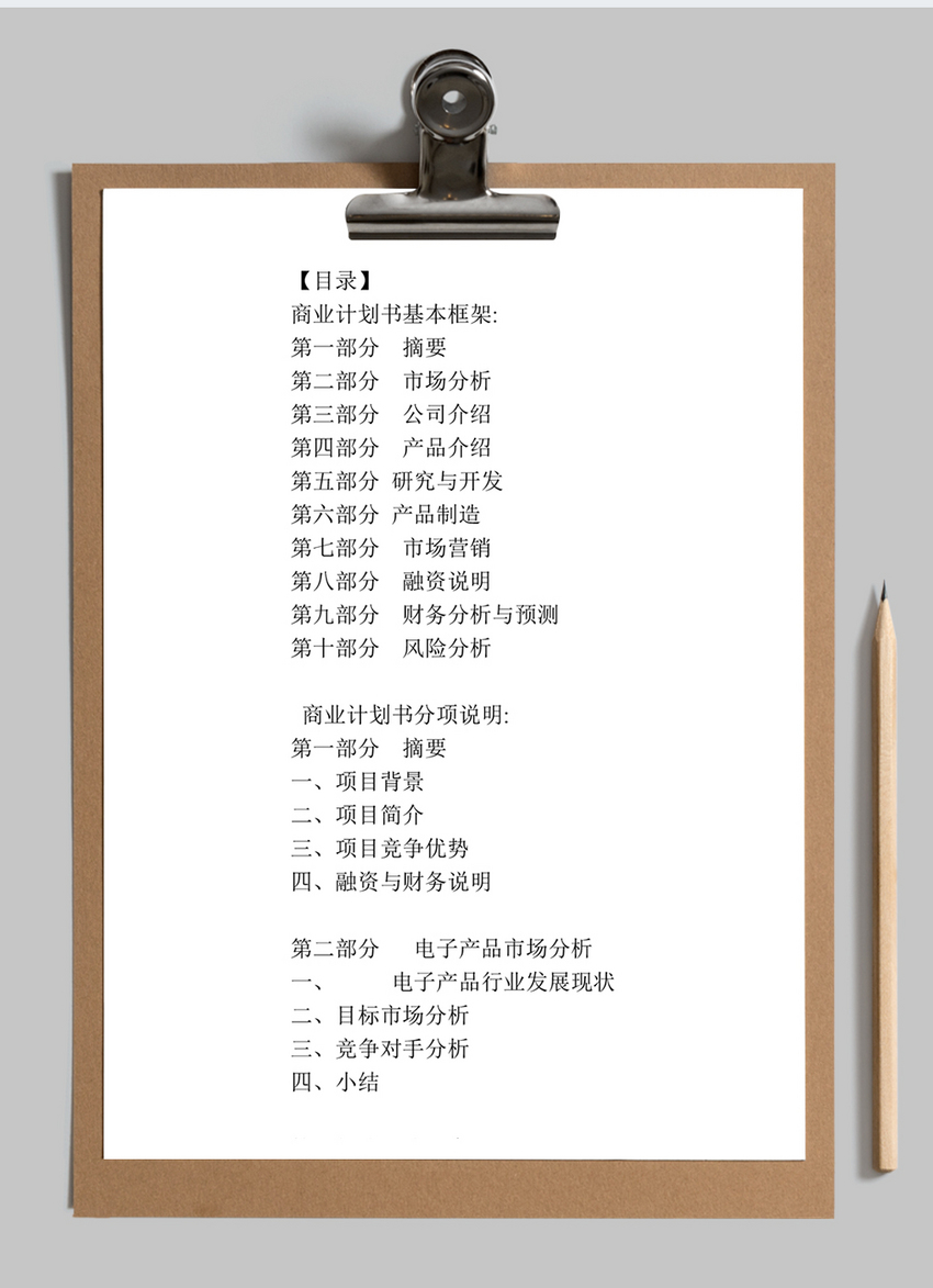 项目计划书word模板图片