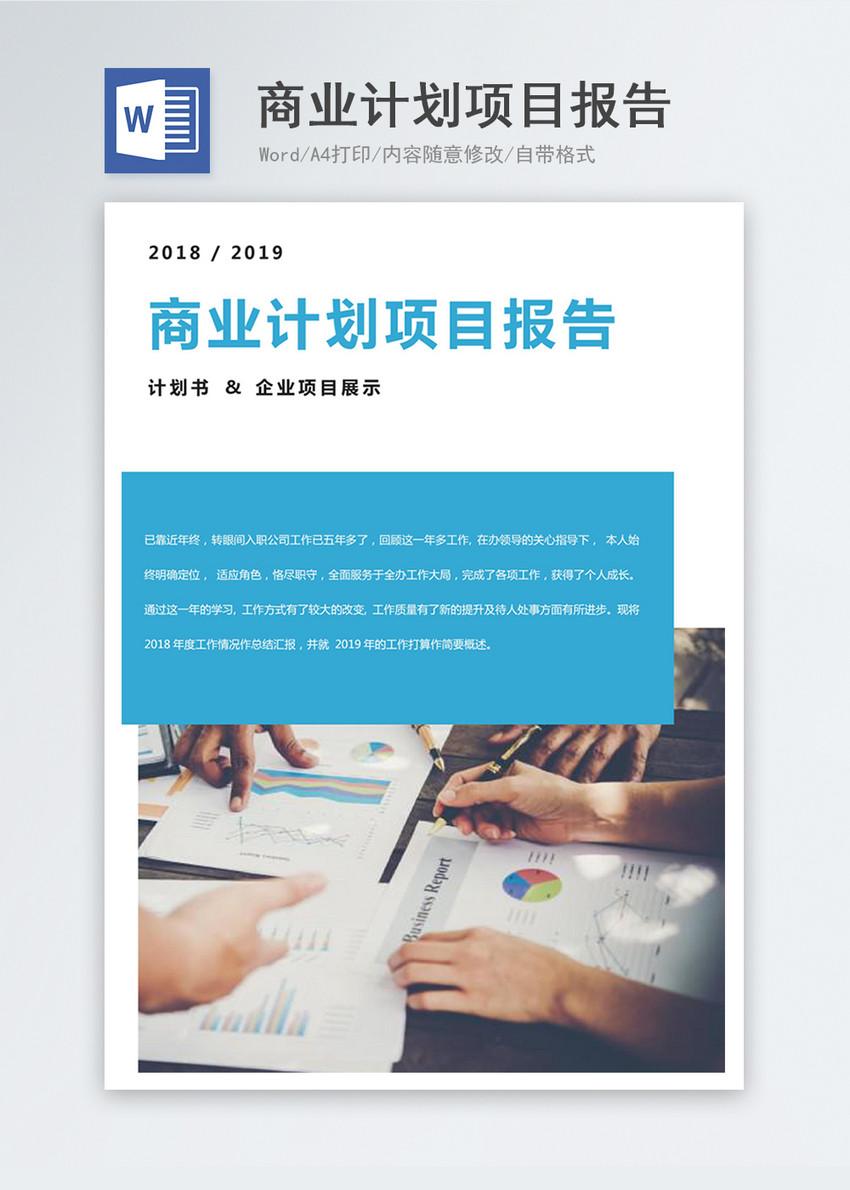 商业计划项目报告word模板图片