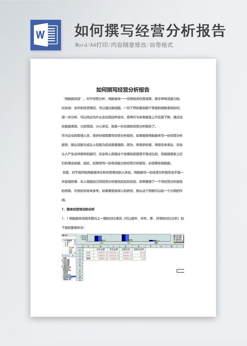 如何撰写经营分析报告word模板图片