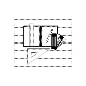 用轮廓和钢笔在海报铅笔纸板的虚线盒活动设计黑色图片素材图片