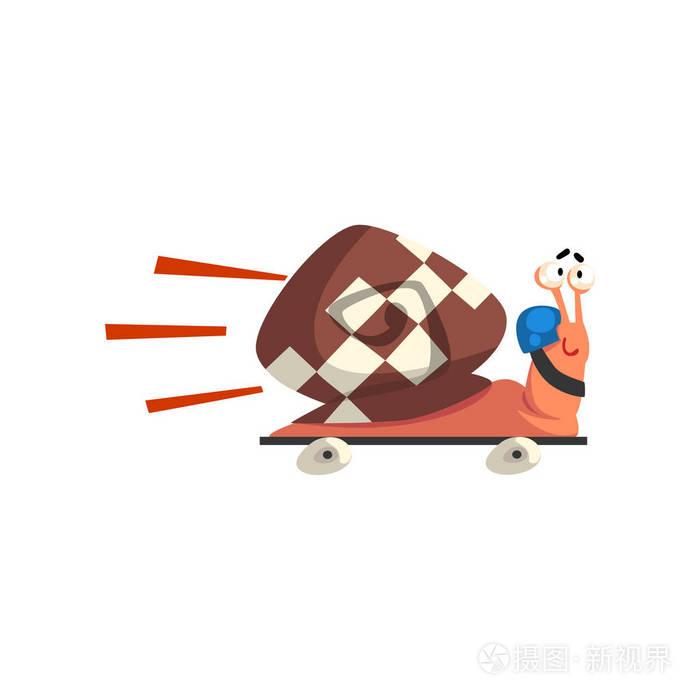 快速滑板,逗人喜爱的卡通软体动物鲨鱼在蜗牛字符酱id图片