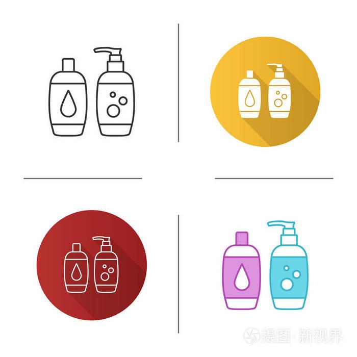 洗发水和沐浴泡沫图标.肥皂和沐浴露.卫生用品.