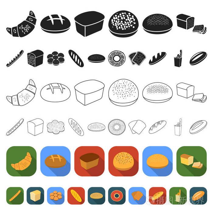 字体的图标面包类型烘焙中的设计。集合平面矢v+产品设计图片