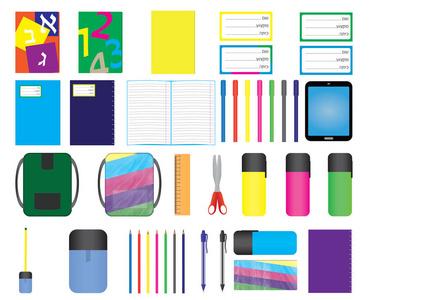 五颜六色的卡通用品虚线贴有学校企业。笔记本边框元旦海报设计图片