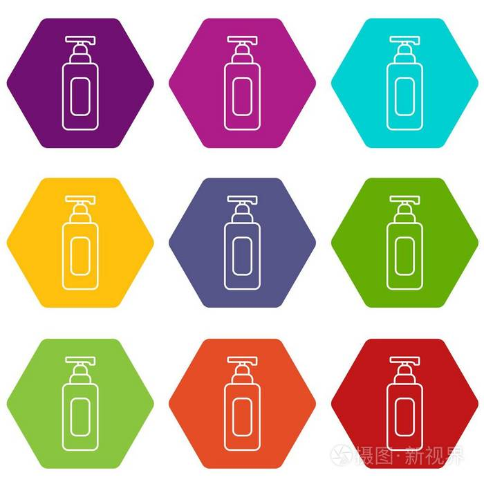 洗发水分配器图标设置9矢量