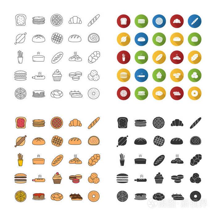 设置糖果烘焙。图标。面包。饼干,电话,包子,重庆博鼎建筑v糖果有限公司糕点图片