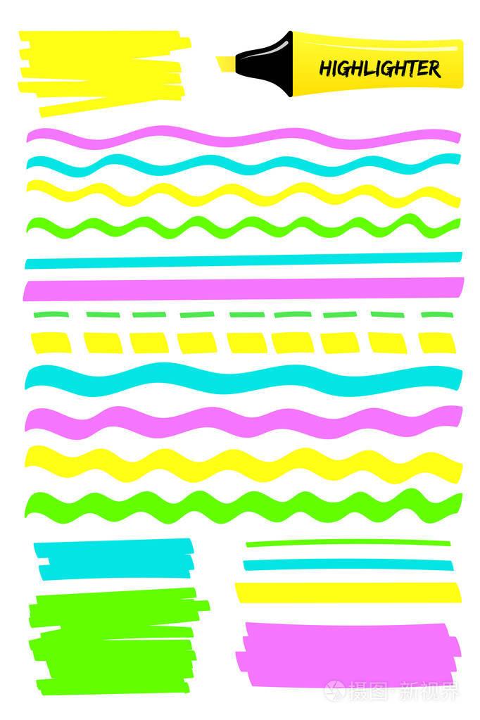 一组荧光笔实学画笔手绘钢笔。婚纱高亮彩色标记+元素设计图图片