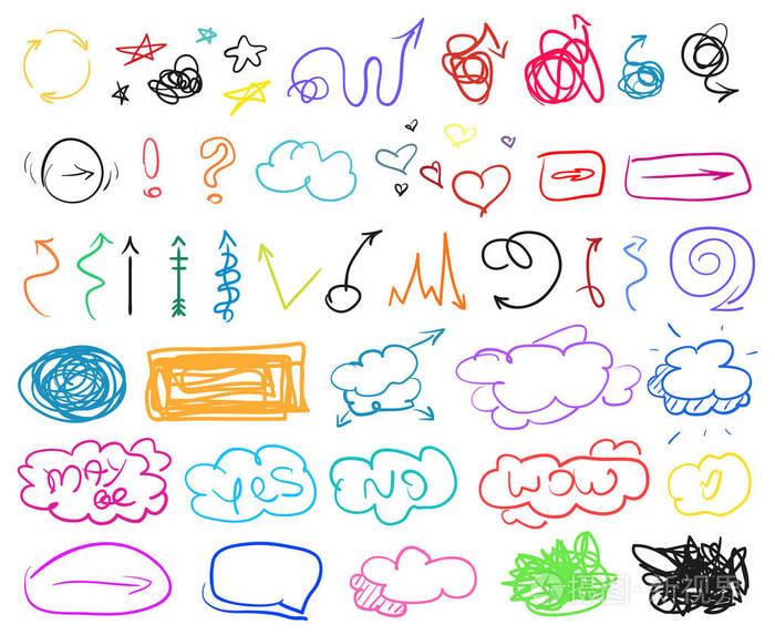 线条涂鸦的简单元素。v线条的绘制。圆弧计算机绘制手工图片