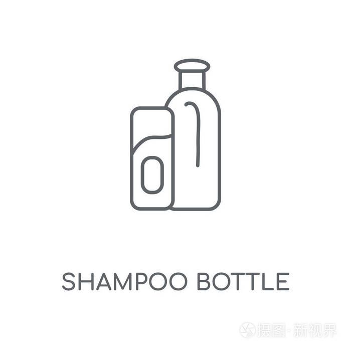 洗发水瓶线性图标.洗发水瓶概念笔画符号设计.