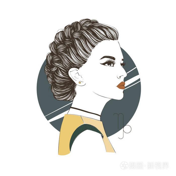 星座:生肖的摩羯座插图作为一个美丽的照片。射手座男神女孩图片