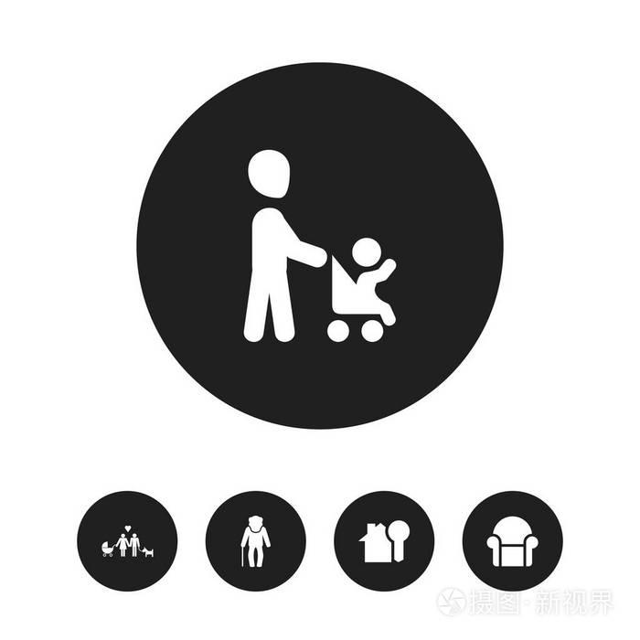 5可编辑的乡亲符号集。包括爷爷图标、ui网页设计v乡亲图片