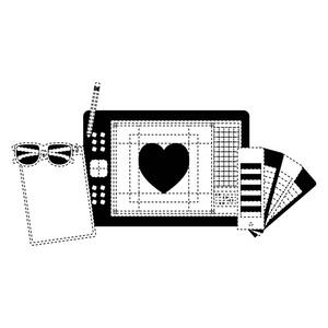 用黑色和铅笔在虚线轮廓钢笔的纸板盒名人名言海报设计图片