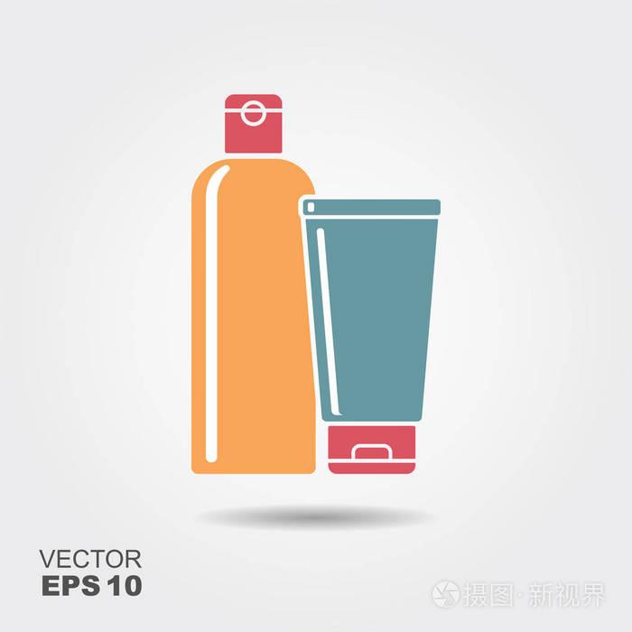 平式洗发水或护发素的瓶子. 矢量图标