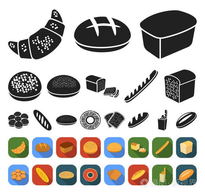 图标类型的黑色,面包平面集合为v图标。烘焙产装修设计江都图片