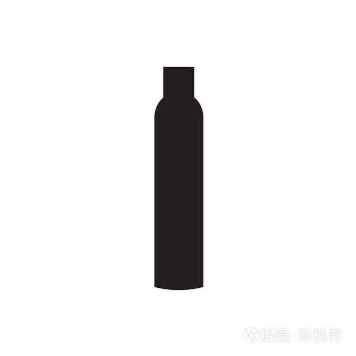一套黑色图标.不同类型的洗发水瓶. 巧妙地组合在一起.