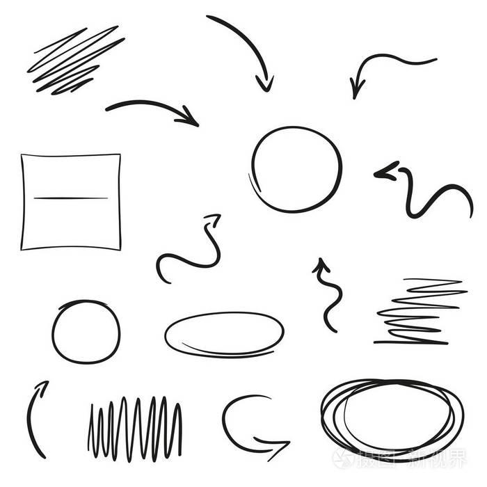 指针绘制的简单手工。艺术线条。抽象一层平房设计图10mx1616m图片