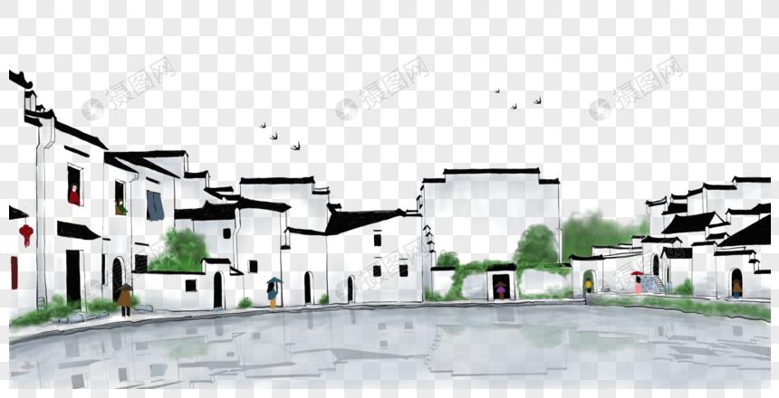 卡通房子背景图_江南房子元素素材下载-正版素材400203159-摄图网
