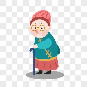扶摔倒的老人卡通图片_站着的老奶奶元素素材下载-正版素材401203445-摄图网