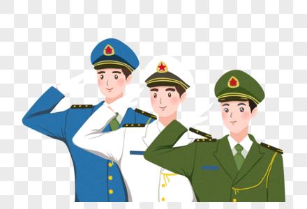 卡通空军军人敬礼图片_军人免抠元素-军人敬礼素材-PNG图片下载-摄图网