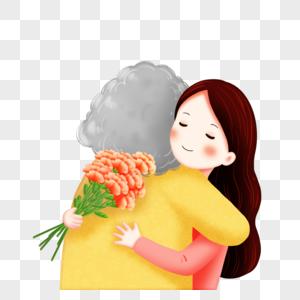 母亲孩子背影图_回家拥抱母亲元素素材下载-正版素材401671342-摄图网