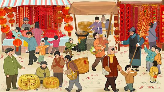 春节团圆饭_买年货插画图片下载-正版图片400089252-摄图网