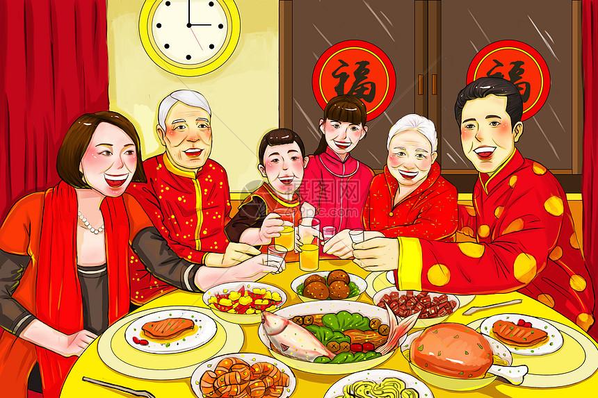 春节团圆饭_新年除夕年夜饭插画图片下载-正版图片400098569-摄图网
