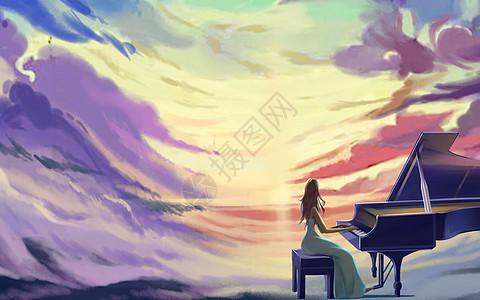 弹钢琴的女孩图片_弹钢琴的女孩素材_弹钢琴的女孩高清图片_摄图网图片下载