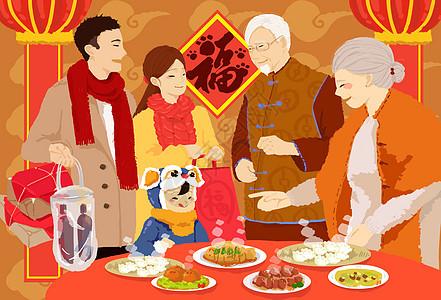 春节团圆饭_中国习俗新年拜年插画图片下载-正版图片400953799-摄图网