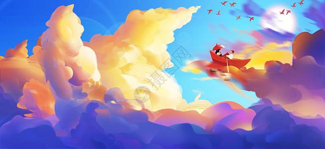 夕阳西下的小清新女孩_唯美梦幻天空手绘插画插画图片下载-正版图片400076698-摄图网