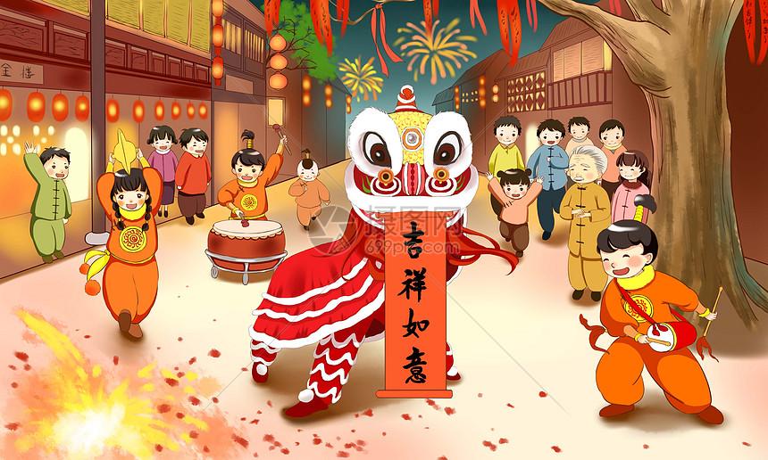 春节喜庆图片_春节插画图片下载-正版图片400946751-摄图网