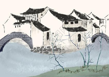 乡村房子图片_水墨江南插画图片下载-正版图片400071583-摄图网