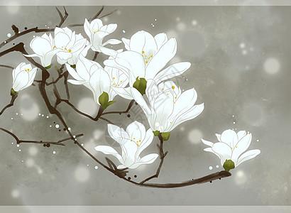 海边背景图片_手绘中国风水墨梨花插画图片下载-正版图片400064707-摄图网
