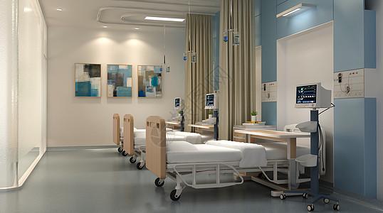 三维立体图_3D医院病房场景图片素材-正版创意图片401684233-摄图网