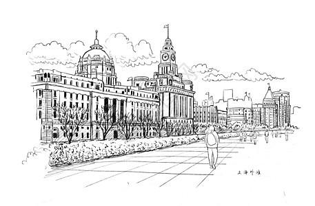 伦敦桥简笔画图片_上海外白渡桥风景速写插画图片下载-正版图片401692635-摄图网