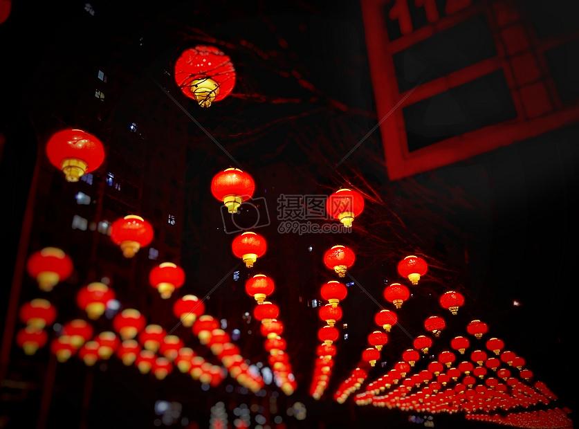城市春节红灯笼夜景摄影图片免费下载_假日和节日图库大全_编号500372212-摄图网
