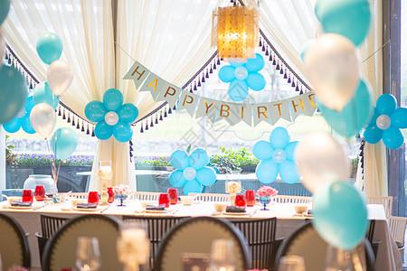 婚礼背景布置蓝色_生日派对氢气球布置高清图片下载-正版图片501121457-摄图网