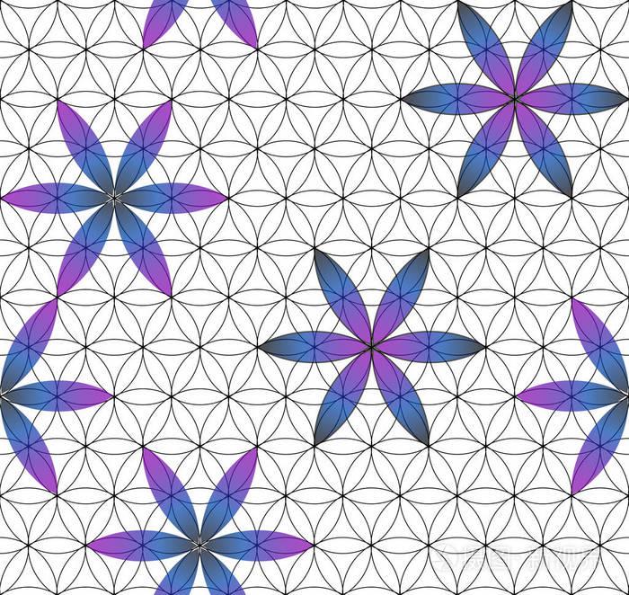 生命之花 神圣的几何学 无缝模式 绿色和紫色 发光点 白色背景插画 正版商用图片09rqi6 摄图新视界